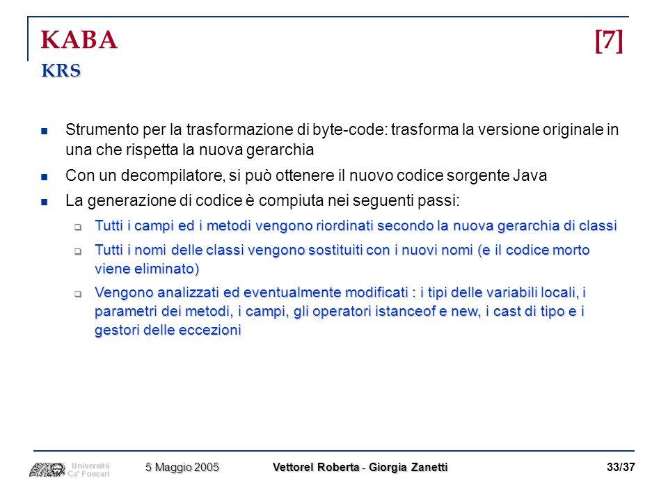 KABA [7]KRS. Strumento per la trasformazione di byte-code: trasforma la versione originale in una che rispetta la nuova gerarchia.